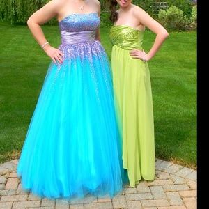 Blue and Purple Sequined Princess Prom Dress